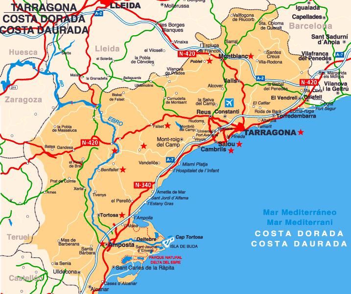 карта курортов Коста Дорада